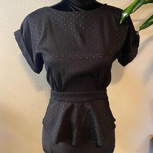 Lucca Couture Black Peplum Top